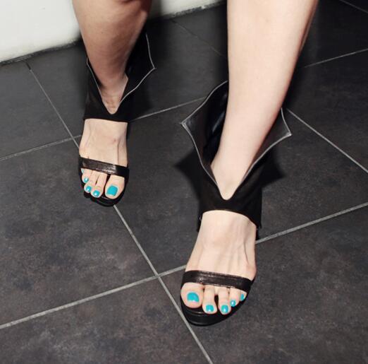Vamp Zapatos Recorte Blanco De Punk Plataforma Picture Vestido Gruesa Fiesta Sandalias Punta As Botas Picture Altura Abierta as Cuero Negro Estilo twYxqYa7