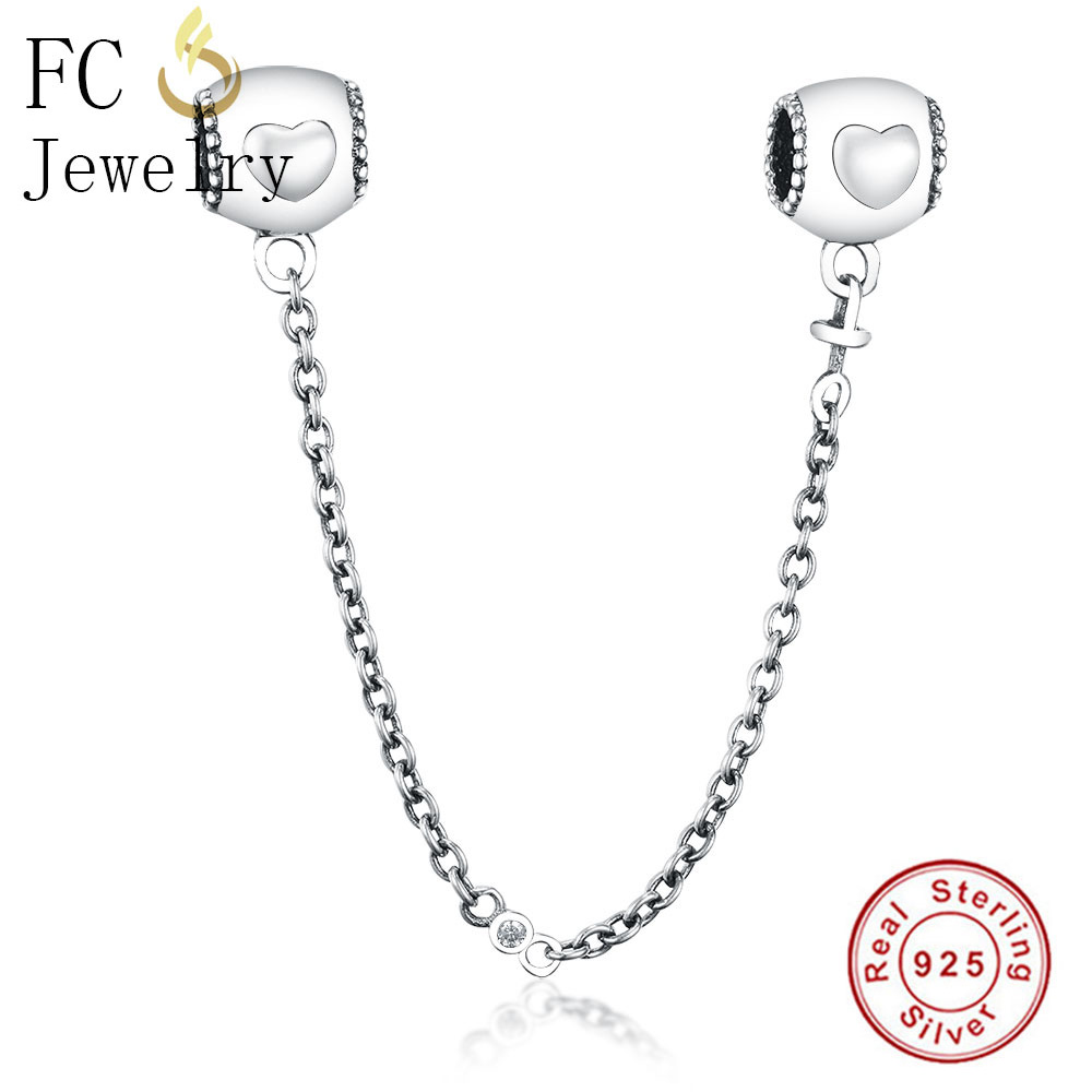 FC Jewelry Fit Original Pandora Charms Bracelet 925 Sterling Silver Tube Heart Beads Safety Chain Spacer DIY Making Berloque New