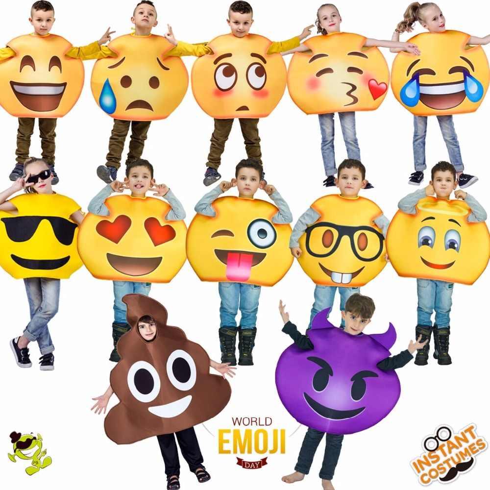 9ef1e28e56 Children's Emoji Costume Masquerade Christmas Party Role Play Funny  Emoticon Clothes Fancy Dress Cosplay Emoji Costume
