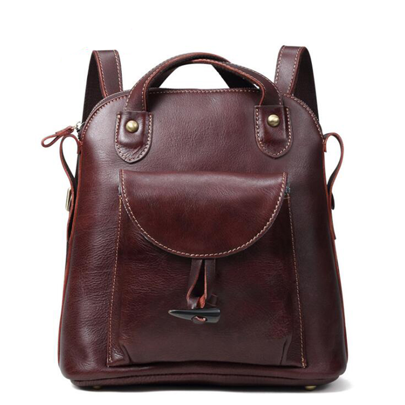 Women Genuine Leather Backpack School Bag Girls Fashion Korean Backpacks Students Bookbag Multifunction Shoulder Daypack Bags