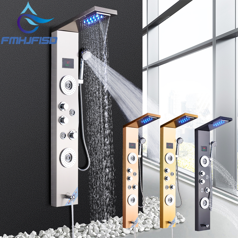 Bathroom Shower Faucet Set SPA Massage Jets Towel Showre Column Digital Display Massage SPA Faucets