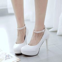 Big Size 11 12 13 14 ladies high heels women shoes woman pumps Chain Waterproof Table High-heeled Women's Shoes(China)