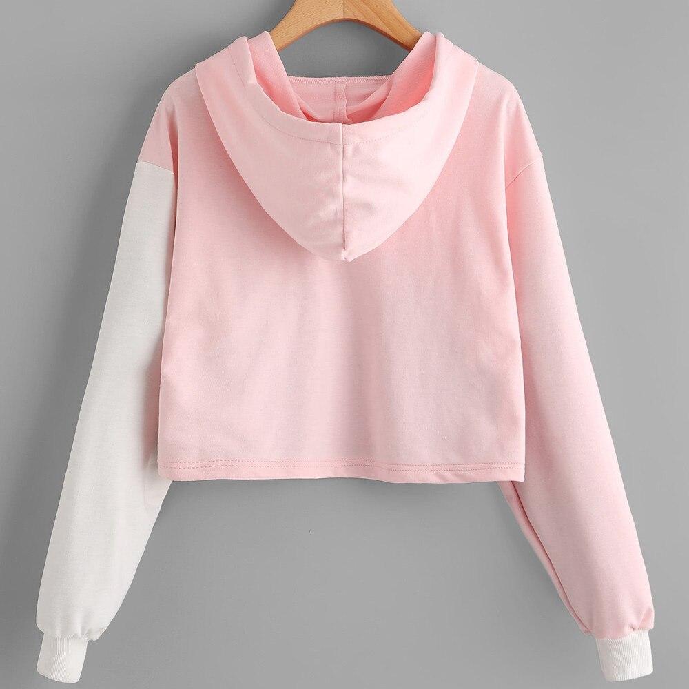 Woman Sweatshirt Patchwork Crop Top Hoodie Cropped Sweatshirt Women Cute Women Tracksuit Harajuku Sudaderas Mujer #h2 1