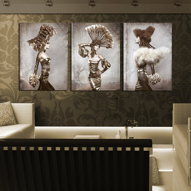 3 Pieces Set Retro Ancient Figure Print Painting Fashion Models Women Pictures Wall Decor Beauty Salon Hotel Bedroom J0751 In Calligraphy From