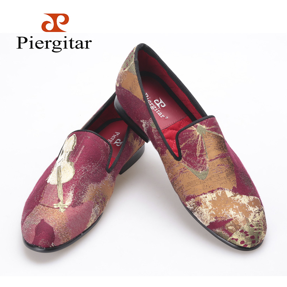 PIERGITAR new retro look Woman print  shoes red mix color jacquard cloth women flats women's loafers Party women dress shoes