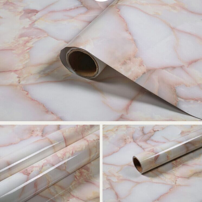 1.22x3m Waterproof PVC imitation marble adhesive sticker wallpaper wardrobe cabinet table furniture