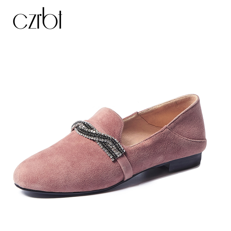 CZRBT New Arrival Casual Women Shoes High Quality Sheep Suede Leather Shallow Mouth Loafers Spring Autumn Fashion Flat Shoes new arrival brown suede leather high