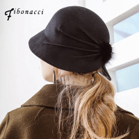 Fibonacci High Quality Female Bucket Hat Hairball Ultra Thin Wool Felt Fedoras Hats For Women Foldable