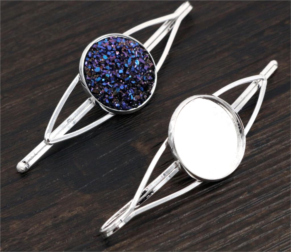 20mm 5pcs High Quality Bright Silver Plated Copper Material Hairpin Hair Clips Hairpin Base Setting Cabochon Cameo-J1-47
