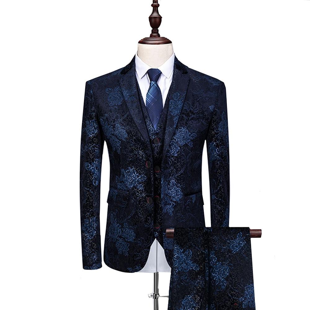 2019 Fashion Kleurrijke Bloemen Gedrukt Mannen Suits Slim Fit Prom Smoking Mannelijke Past Voor Bruiloft 3 Stuk Kostuum Set Grote size M 6XL-in Pakken van Mannenkleding op  Groep 1