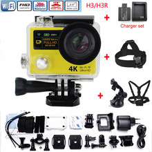 H3R H3 Action camera Ultra HD 4K Video Sports Camera 170D Wide Angle Dual Screen +Head Strap+Chest Strap+charger set