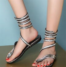 The new 2016 Europe and rhinestone straps around the foot flat sandals sexy shoes Rome