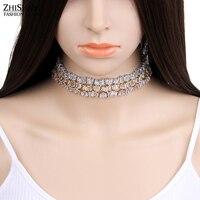 Famous Brand Fashion AAA Zirconia Choker Necklace Thin Irregular Array Choker 18K Rose Gold Necklace Women