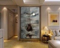 수제 현대 추상 Masterful 질감 유화 배송 바다 손으로 그린 벽 작품 바다 보트 캔버스 그림