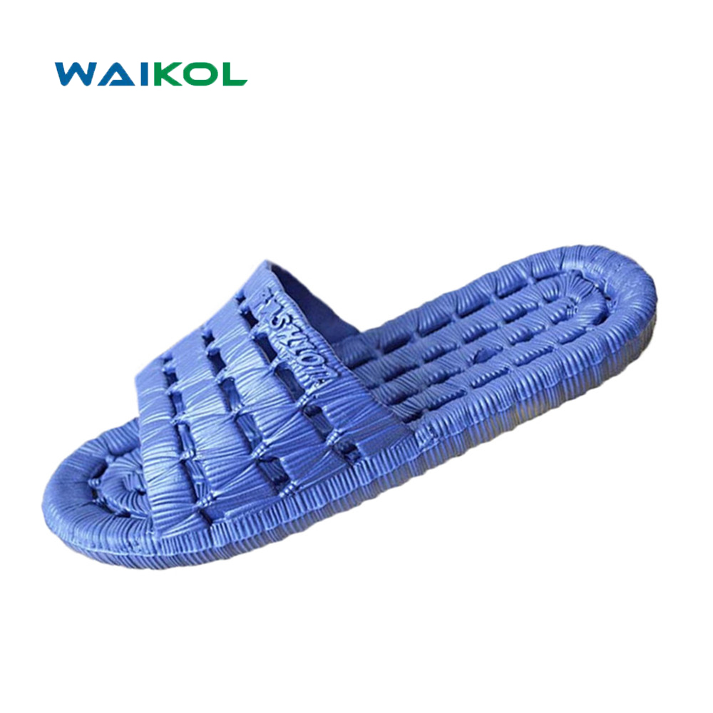 Waikol Men Shoes Hot Sale New Summer Cut-outs Flats Sandals Non-slip Bathroom Slippers Home Massage Slippers waikol durable summer men sandals comfortable massage slippers indoor