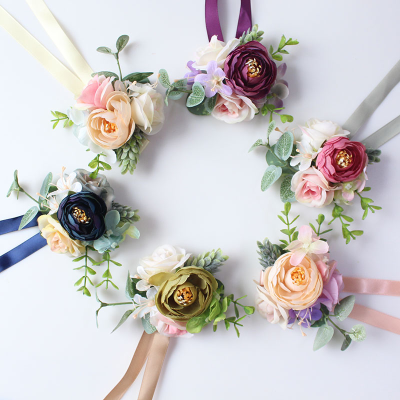 wrist flower bridesmaids Bracelets silk roses pink (29)