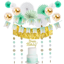 16pc Mint Gold White Kids Happy Birthday Party Decorations Banner Cake Topper Metallic Foil Table Skirt Paper Fans Balloons