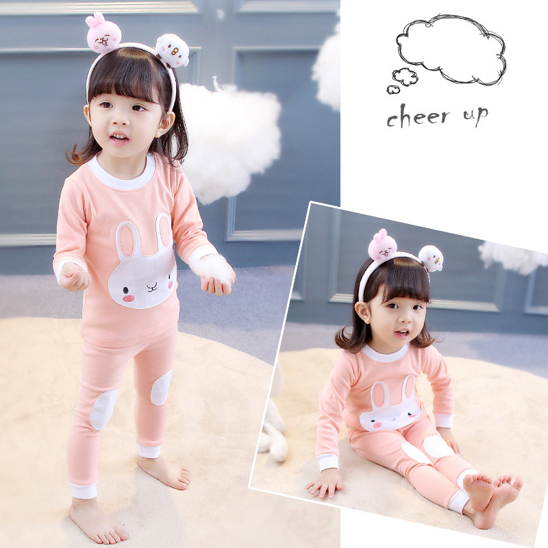 2018 New Spring Pajamas Suits For Girls Cute Cotton Chidren Clothes Hot Cartoon Kids Pajamas Fit 2T-6T Two Pieces Casual Suit