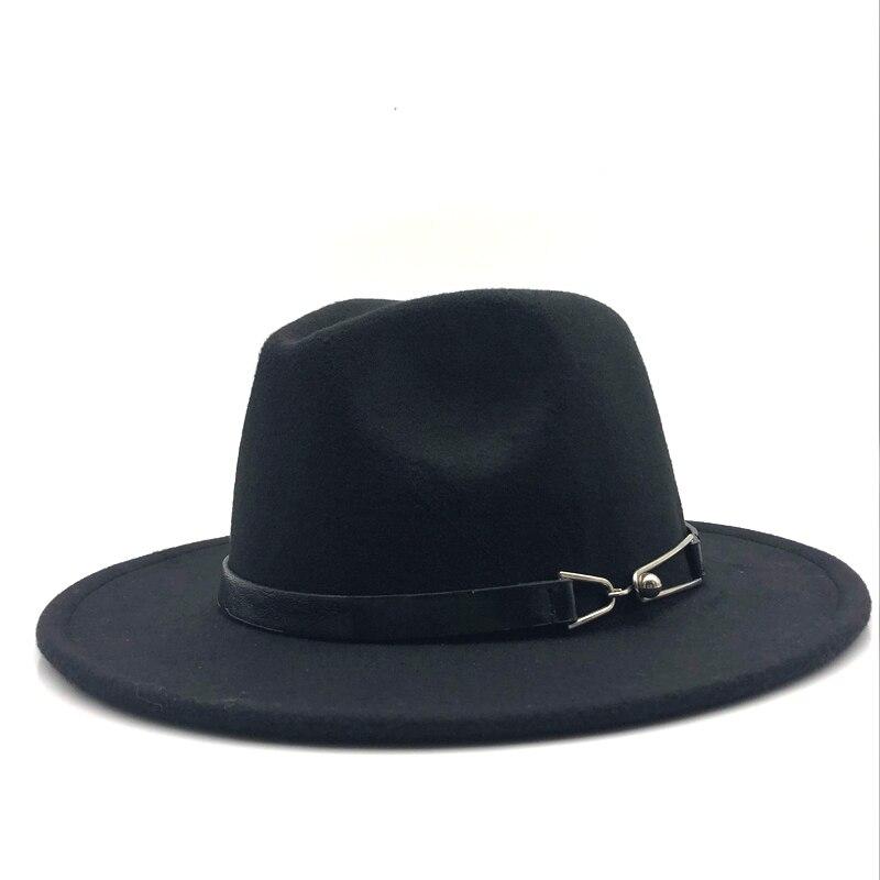 23027004e0a [HOT DEAL] US $11.65 for New Women Men Wool Vintage Gangster Trilby Felt Fedora  Hat With Wide Brim Gentleman Elegant Lady Winter Autumn Belt Jazz Caps