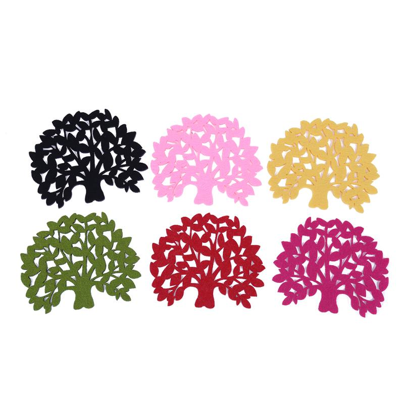 5pcs/set Tree Shape Placemat Heat Insulation Pad Dining Table Coasters Cup Dish Coffee Table Mat Pads Random Color