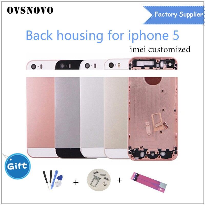 Chasis Fundas cubierta trasera Fundas para iPhone 5 A1428 A1429 A1442 batería cubierta Coque + logotipo y los botones y Sim bandeja + Sticker + IMEI de encargo
