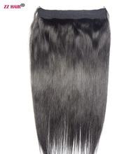 ZZHAIR 24″ 61cm 100% Brazilian Hair 120g Flip in Human Hair Extensions 1pcs Halo Hair Non-clips Hair Natural Straight Non-remy
