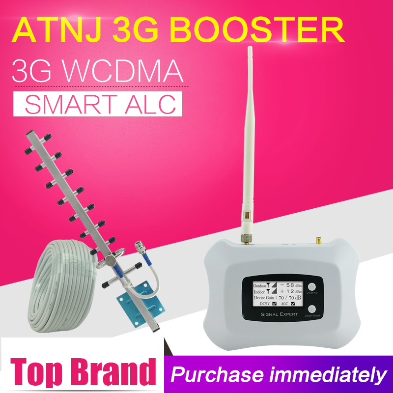 ATNJ Smart 3G Booster WCDMA 2100 Cell Phone Signal Booster 3G 2100 Mobile Phone Repeater Cellphone Cellular Amplifier 3G Antenna