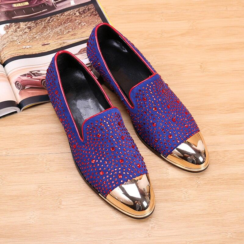 2017 JOES Men Fashion Shoes  Red Rivets Velvet Loafer Shoes Men Comfortable Party Wedding Driving Shoes Top Men Flats
