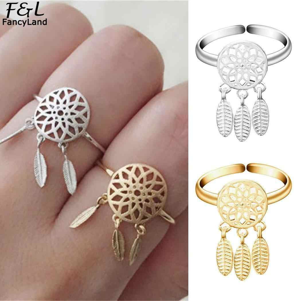 Women Ring Jewellery Dream Catcher Ring Hollow Feather Women Ring Jewelry Midi Fnger Ring Dreamcatcher Jewelry