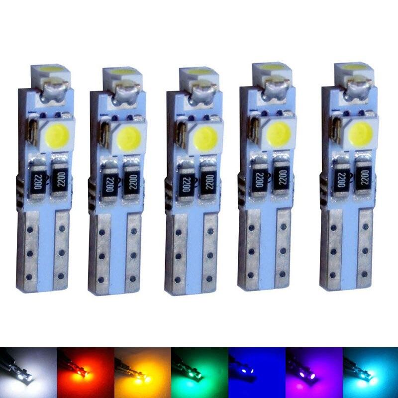 AORUNYEBAO 5pcs Car Auto LED T5 3 Led 3528 Wedge LED Light Bulb Lamp 3SMD Interior Instrument Lights Dashboard Warning Indicator