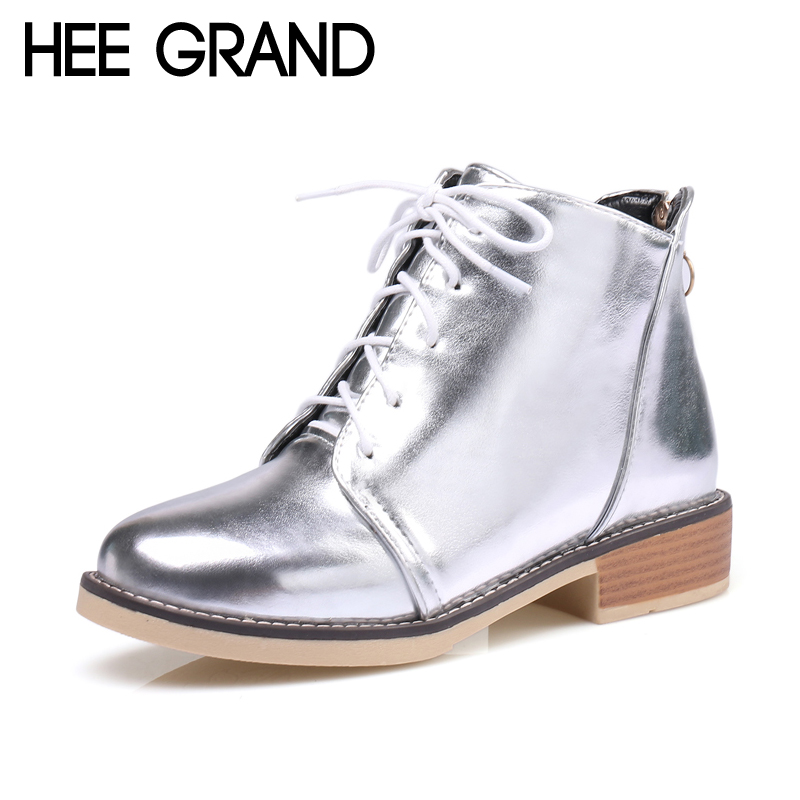 HEE GRAND Silver Gold Boots 2017 Women Lace up Ankle Boots Platform Shoes Woman Slip On Creepers Casual Flats XWX6224 hee grand bling winter snow boots waterproof silver shoes woman platform women ankle boots slip on flats casual creepers xwx5503