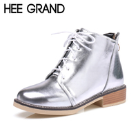 HEE GRAND Silver Gold Boots 2017 Women Lace Up Ankle Boots Platform Shoes Woman Slip On