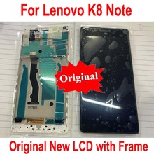 100% Original New Black White Sensor LCD Display Touch Screen Digitizer Glass Panel Assembly with Frame For Lenovo K8 Note
