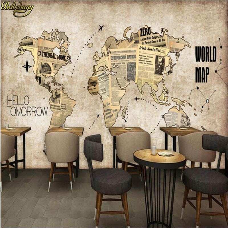beibehang Custom Photo Wallpaper Mural Europe and the United States Retro World Map Newspaper Bar Cafe Background Wall