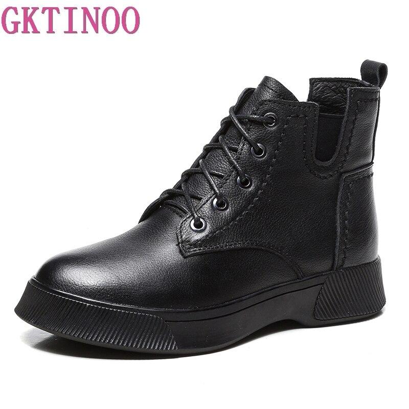 GKTINOO/зимние ботинки, женские ботильоны из натуральной кожи, мягкая обувь ручной работы на плоской подошве с плюшевой подкладкой, женские бот...