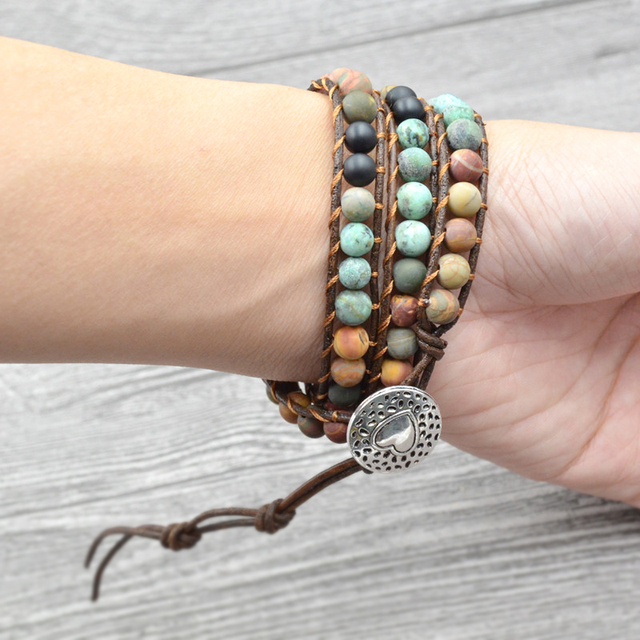Natural Stone Vintage Leather Boho Bracelet