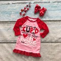 girls all heart dress kids  cupid is my bestie dress girls new design heart valentines day dress with necklace and bows