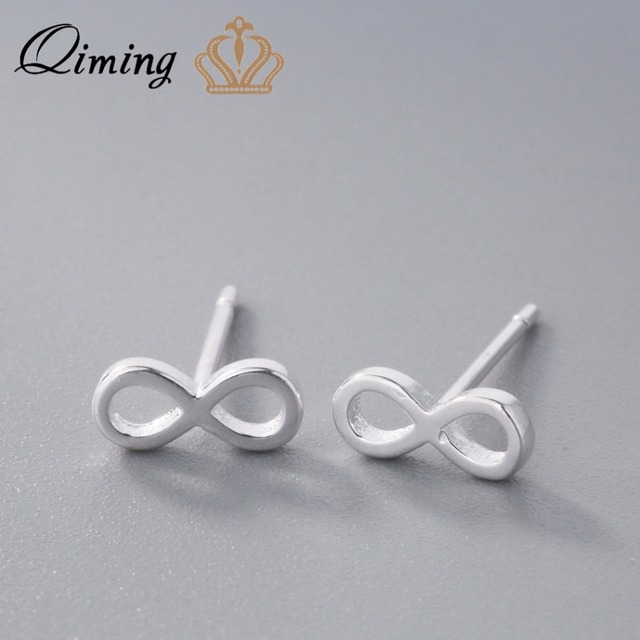 Qiming Silver 925 Jewelry Infinite Earrings Whole 2018 New Style Tiny Small S Accessories