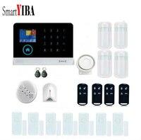 Smartyiba домашний Wi Fi GSM GPRS SMS безопасности Наборы Беспроводной приложение Дистанционное управление сирена RFID Беспроводной сигнализации дыма С