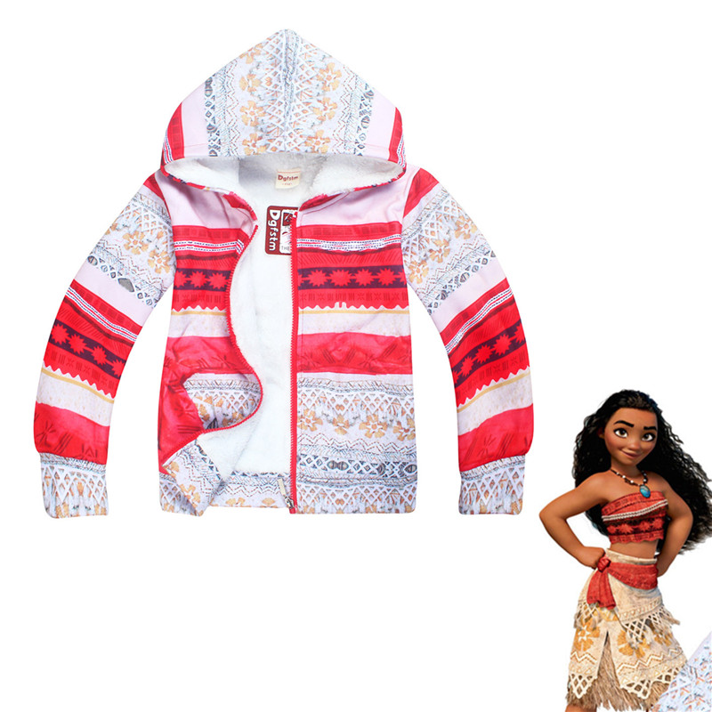 Girl Moana zipper hoodie Cosplay jacket Lycra cotton long sleeve winter plus velvet casual cartoon hooded sweatshirt