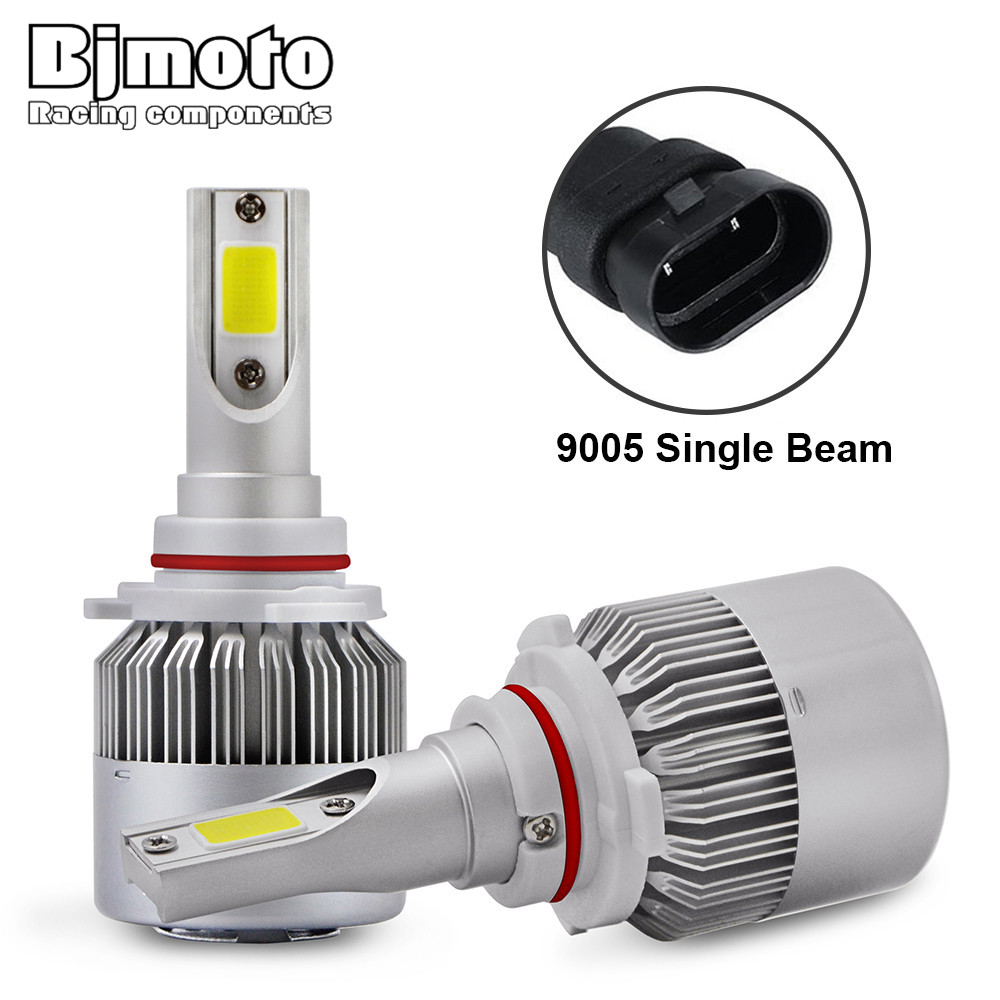 BJMOTO 2pcs All-in-One Car Headlights LED 9005 Light Bulbs Auto Front Bulb 72W Automobiles Headlamp 6000K Fog Lamps