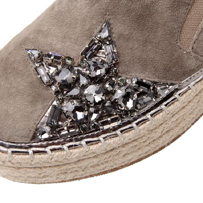 Espadrilles En Mocassins Le Daim Plates 2019 Printemps Appartements grey forme Chaussures Chanvre Femmes Nouveau Mode black Plate Strass Pour Poisson Beige Été De 7zqwvxCY