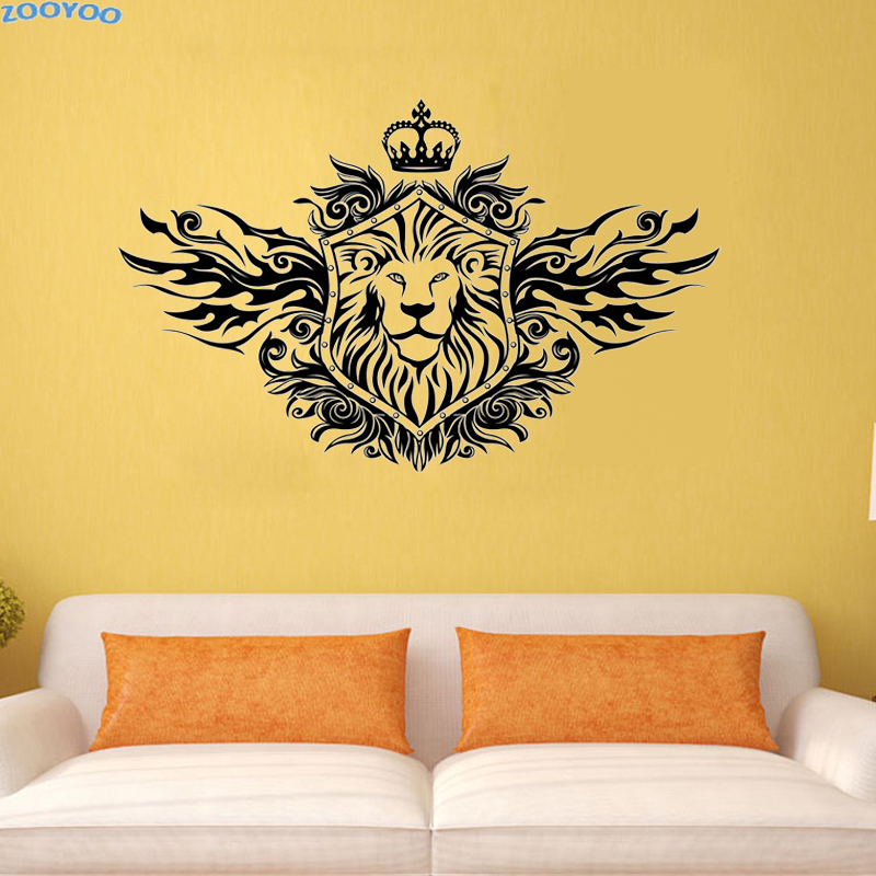 ZOOYOO Crown Lion Shield Wall Sticker Fashionable Home Decor ...