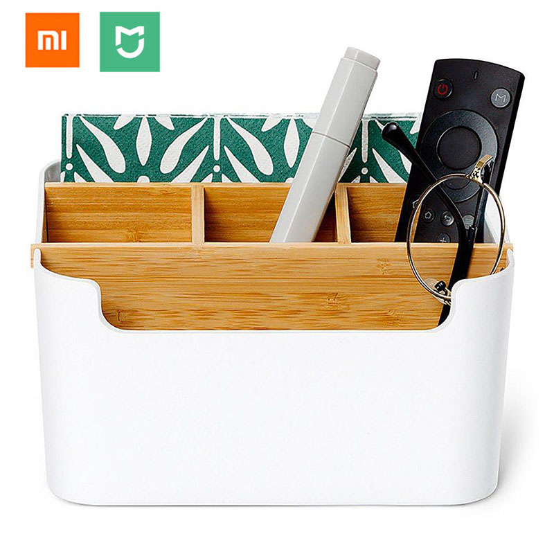 Original Xiaomi Mijia Bambo Fibre Detachable Organiser Box Sub-grid Design Cosmetic Storage Box Portable Case For Smart Home 25pcs empty metal bobbins spool case with 25 grid storage case box for sewing machine reels home accessories