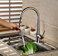 Modern Chrome Deck Mount Pull Out Kitchen Sink Mixer Faucet Single Handle Brass Kitchen Mixer Taps