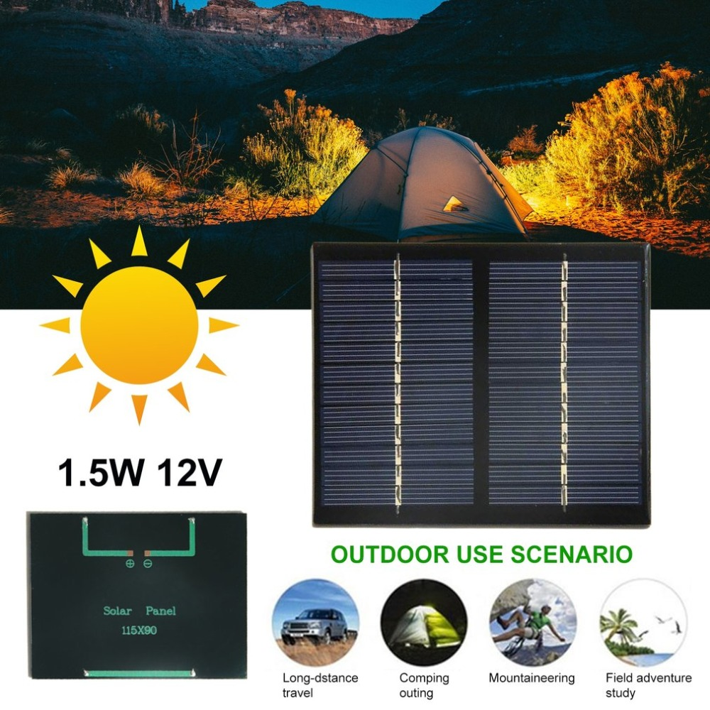 US $5 0 |12V 1 5W Universal Solar Panel Polycrystalline Silicon DIY Battery  Power Charge Module Small Size Solar Cell-in Solar Cells from Consumer