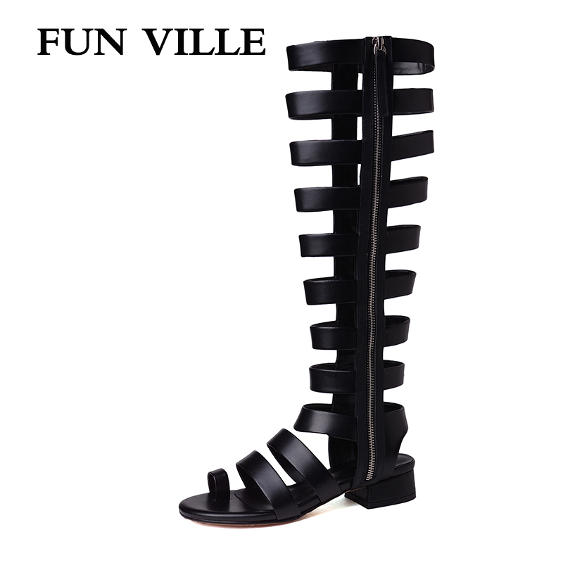 FUN VILLE 2019 New Fashion Summer Women Mid-calf Boots High Quality Genuine leather High Boots Sexy Female sandals Peep toeFUN VILLE 2019 New Fashion Summer Women Mid-calf Boots High Quality Genuine leather High Boots Sexy Female sandals Peep toe