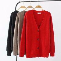 Oversized Plus Size V Neck Elastic Knitted Wool Women Cardigan Coat 2018 Autumn Ladies Sweater Female Knitwear Coat