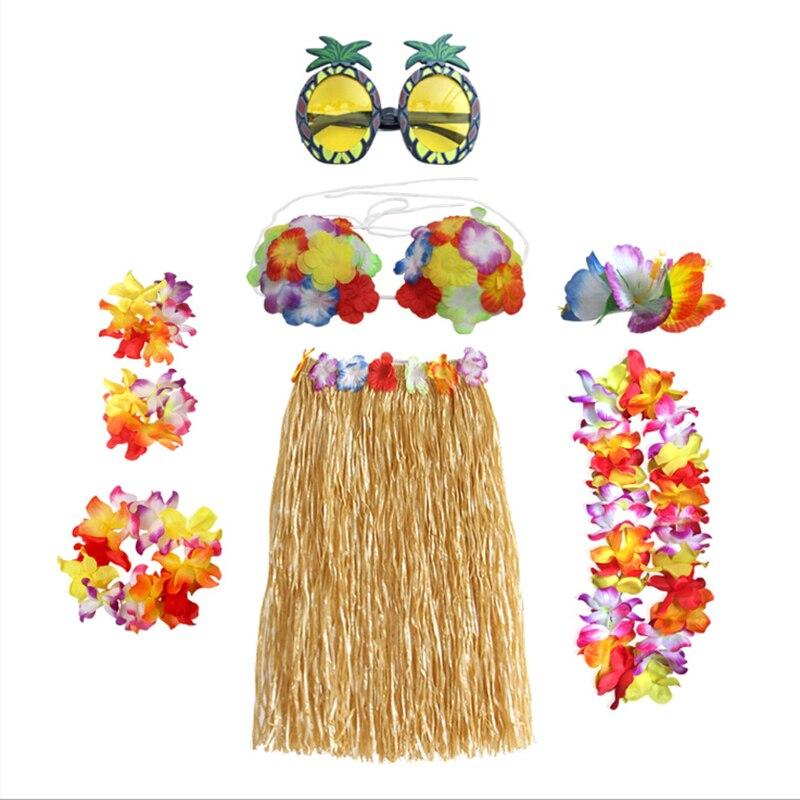 Gran oferta 8 Uds. Fibras de plástico niñas mujer falda hawaiana disfraz de hierba falda flor baile hula vestido fiesta Hawaii playa