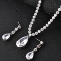 lingmei New Design Teardrop Wheat Imitated Gemstone Crystal Wedding Bridal Jewelry Set including Necklace Earrings